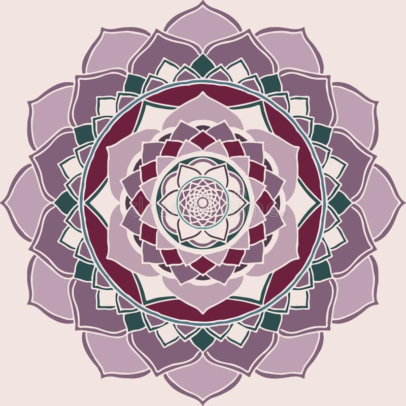 Mandala Pink en Purper Oosters Ornament stock illustratie