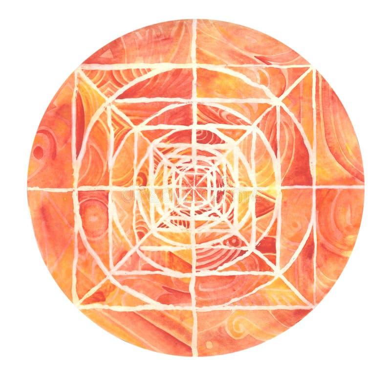 Mandala pintada roja ilustración del vector