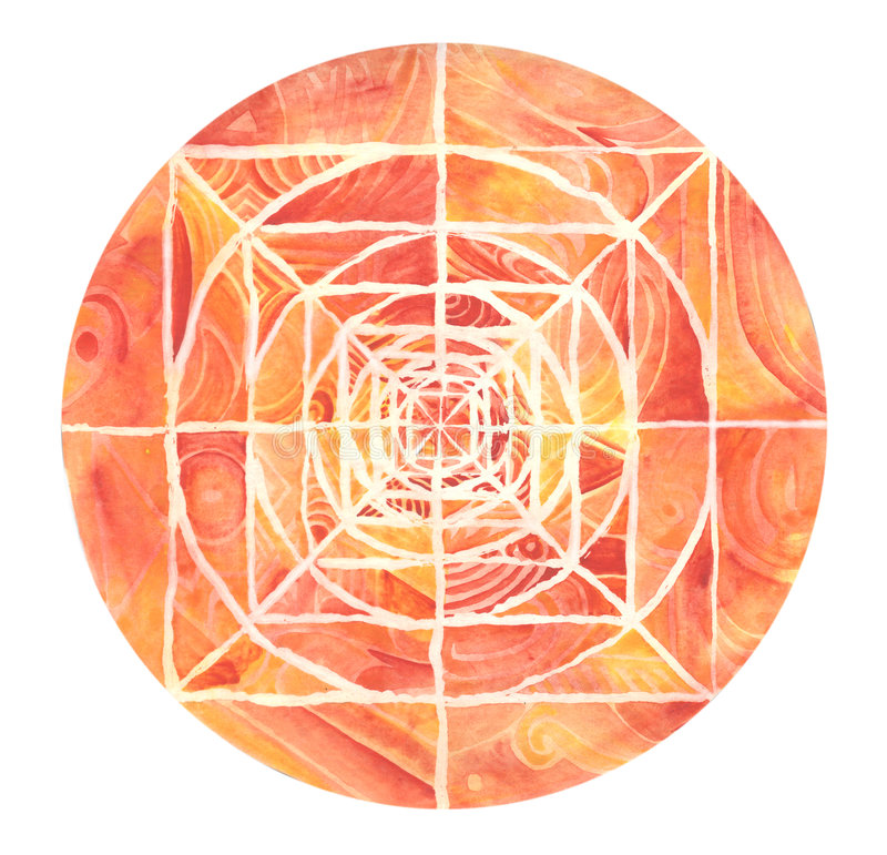 Mandala pintada vermelha ilustração do vetor
