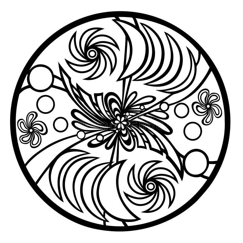 Mandala pour colorer, méditatif, expression dans la créativité illustration libre de droits