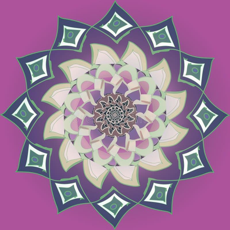 Mandala pourpre de fleur de dahlia à l'arrière-plan pourpre plat, palette de couleur en pastel dans le style de cru illustration stock