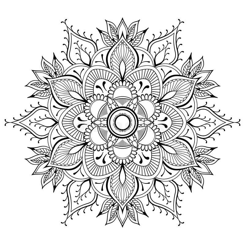 Mandala preta da flor Teste padrão oriental, ilustração do vetor Islã, árabe, motivos indianos do otomano Página do livro para co ilustração stock