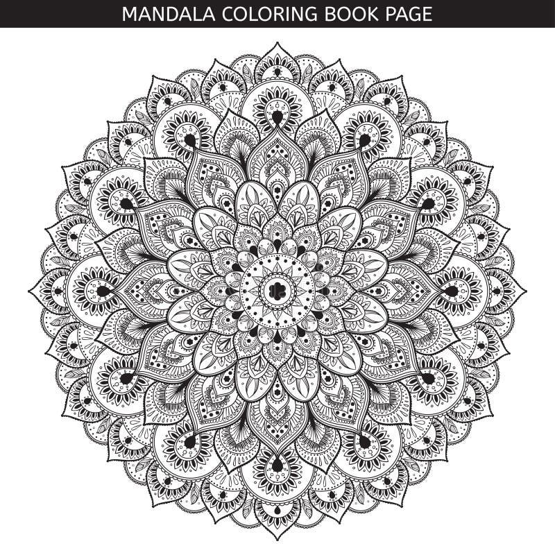 Mandala preta do vetor no fundo branco Ilustração monocromática ilustração stock