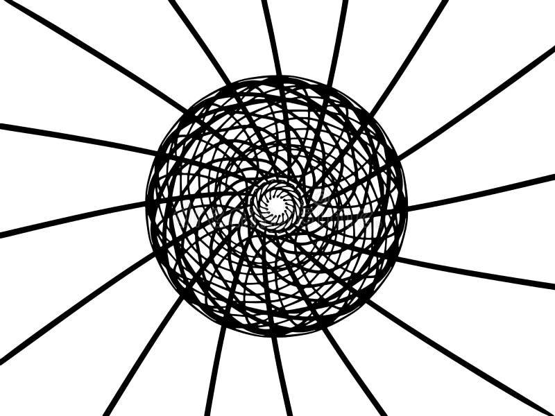Mandala preta do vetor no fundo branco Medalhão com raios Decoração redonda no estilo do futurista Único ornamento concêntrico ilustração royalty free