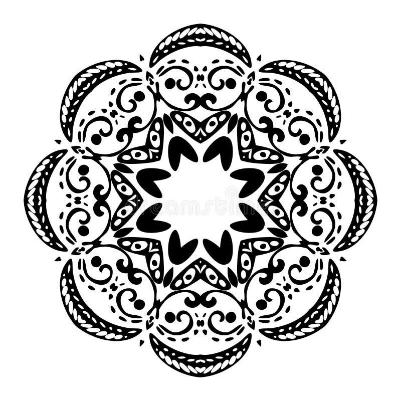 Mandala preta no fundo branco Elemento decorativo decorativo Ilustra??o do vetor ilustração royalty free