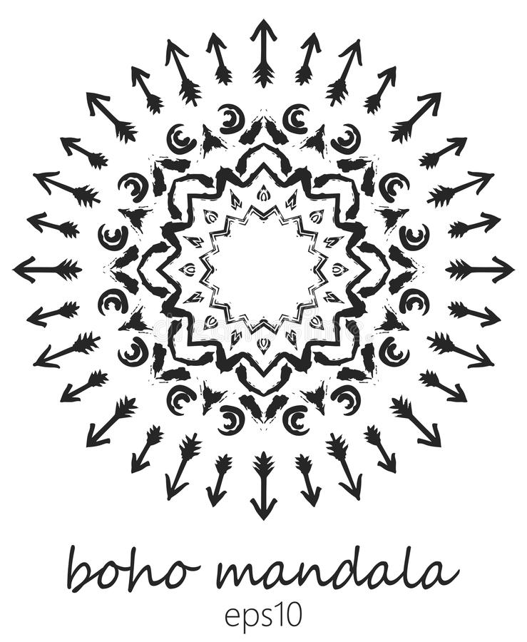 Mandala preta no fundo branco, estilo boêmio Ornamento do vetor do nativo americano pintado com escovas do grunge ilustração do vetor