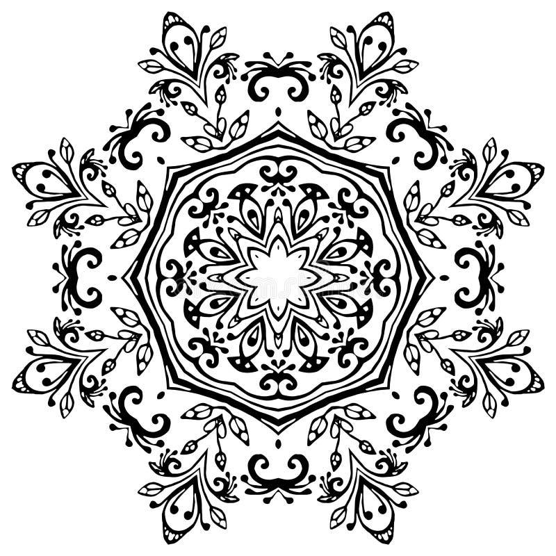 Mandala preta no fundo branco Ornamento do vetor ilustração royalty free