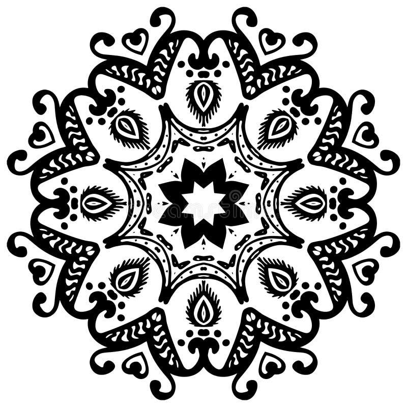 Mandala preta no fundo branco Ornamento do vetor ilustração do vetor