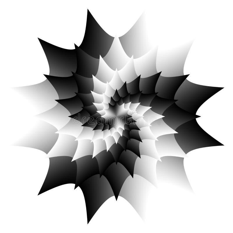 Mandala preto e branco abstrata, flor isolada no fundo branco, flor da pétala, Yin yang, mandala espiral esotérico ilustração royalty free