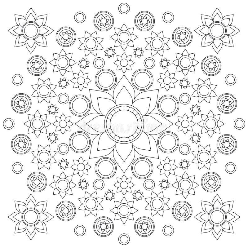 Mandala preto e branco da flor do vetor composta com flores e círculos, linhas pretas no fundo do Livro Branco ilustração stock