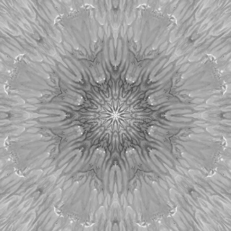 Mandala preto e branco do Grayscale com textura feito a mão da arte imagem de stock