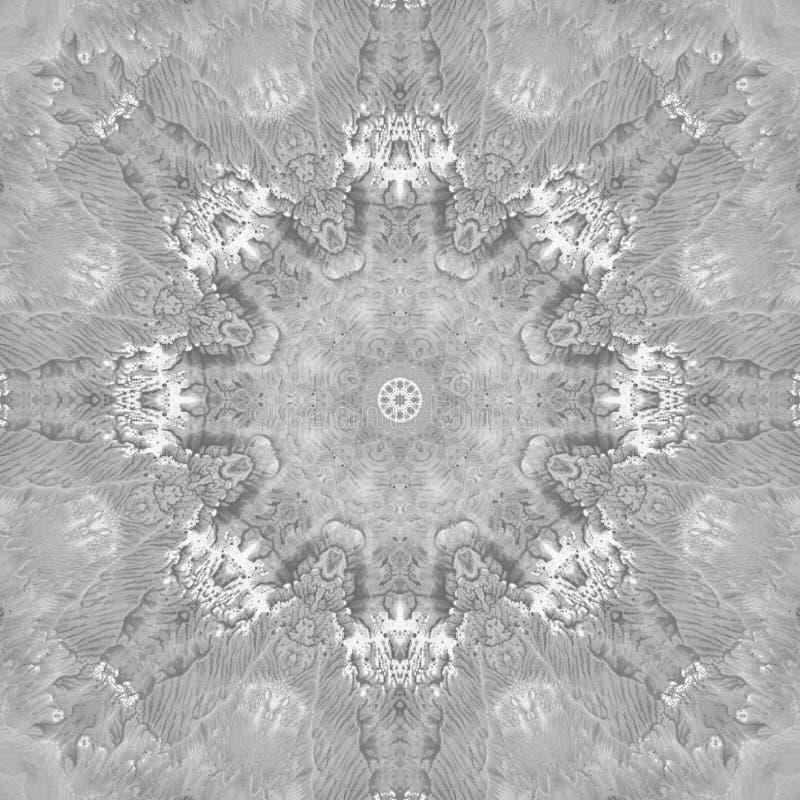 Mandala preto e branco do Grayscale com textura feito a mão da arte imagens de stock