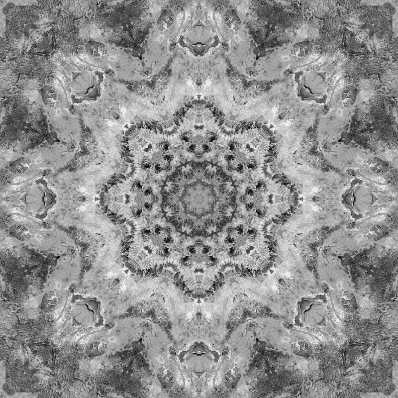 Mandala preto e branco do Grayscale com textura feito a mão da arte fotografia de stock royalty free