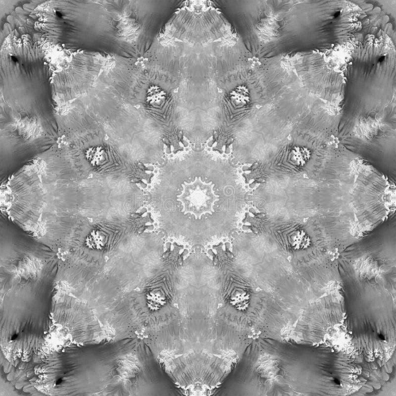 Mandala preto e branco do Grayscale com textura feito a mão da arte foto de stock