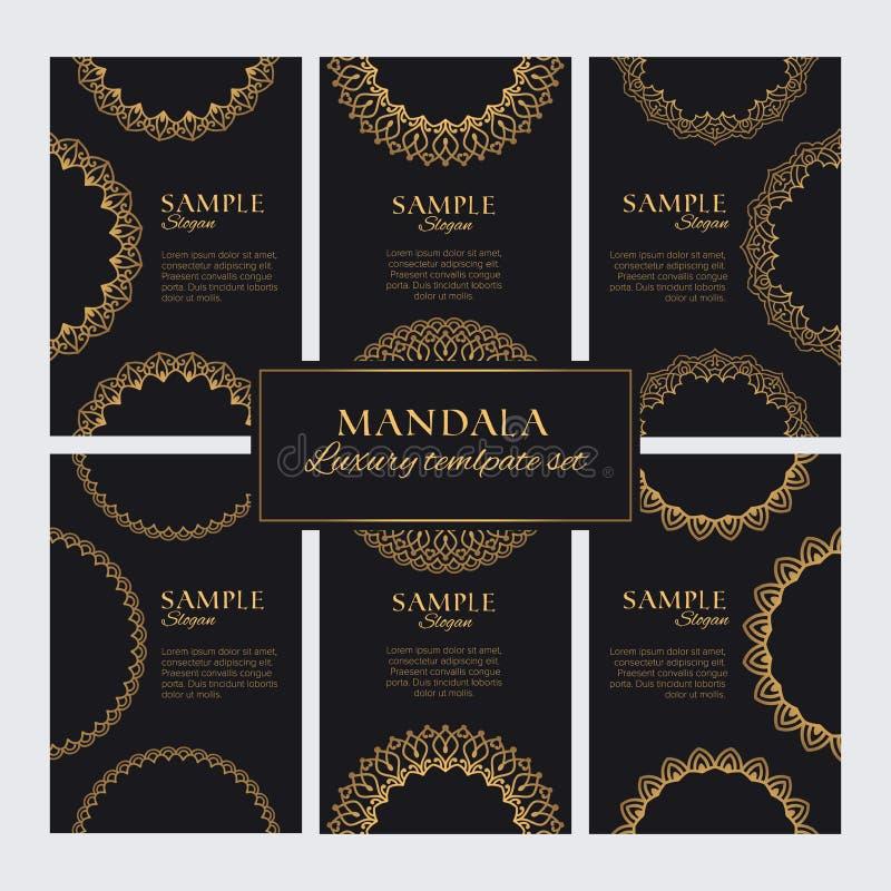 Mandala projekta szablonu wektoru kolekcja Set luksusowy złoty orientalny ornamentsSet luksusowe złote ozdobne ramy dla tożsamośc royalty ilustracja