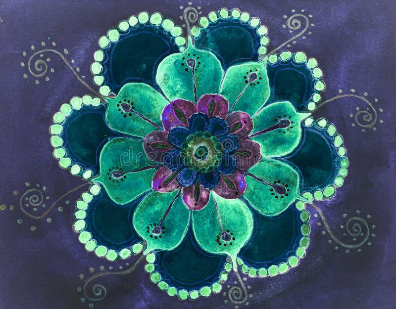 Mandala psichedelica con fiori royalty illustrazione gratis