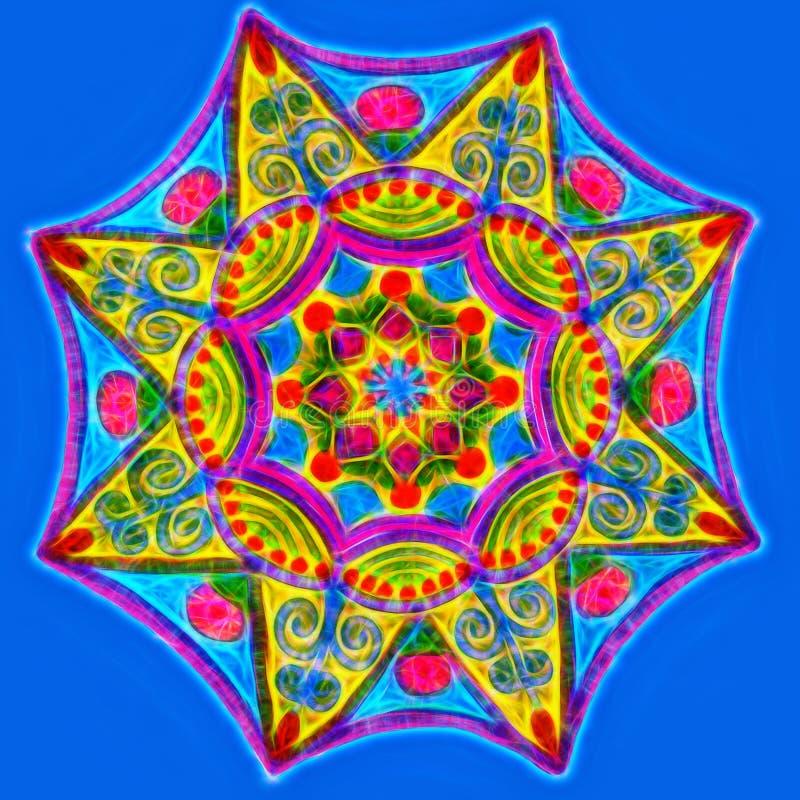 Mandala que brilla intensamente dibujada mano en un fondo azul stock de ilustración