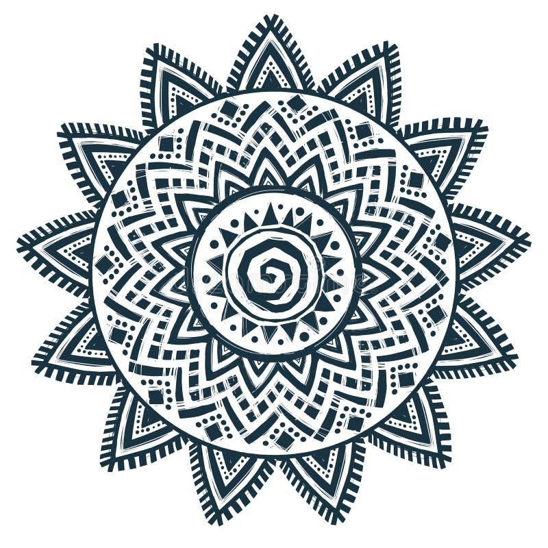 Mandala rêveur tiré par la main de receveur de style de vecteur ethnique du soleil illustration stock