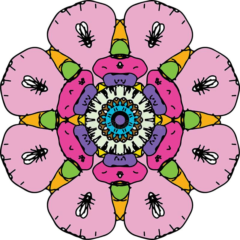 Mandala redonda colorindo encantada do coração ilustração royalty free