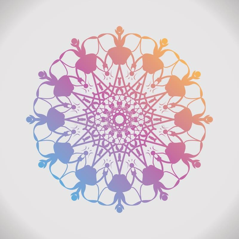 Mandala redonda de la pendiente en fondo aislado blanco Elementos decorativos de la vendimia stock de ilustración