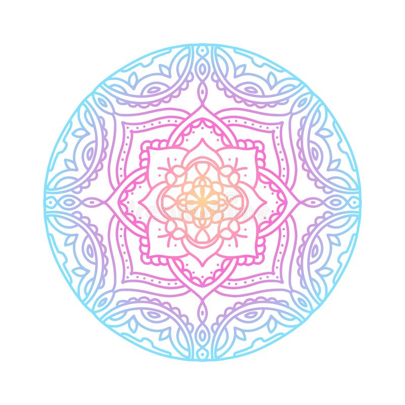 Mandala redonda do inclina??o no fundo isolado branco Mandala do boho do vetor em cores azuis, amarelas e cor-de-rosa do inclinaç ilustração do vetor