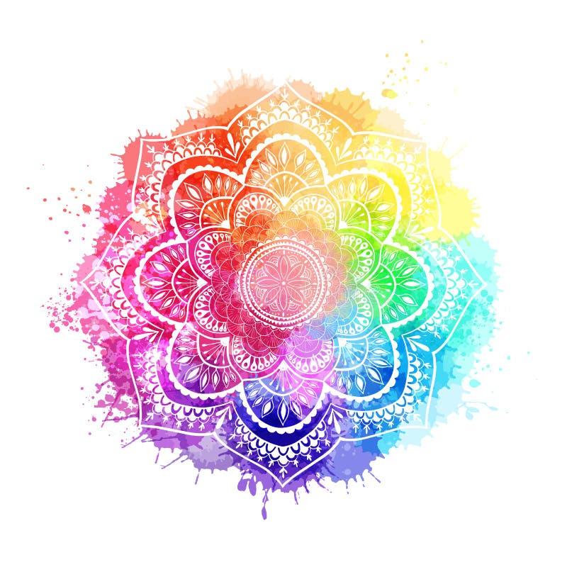Mandala redonda do inclina??o no fundo isolado branco Mandala sobre a aquarela colorida ilustração stock