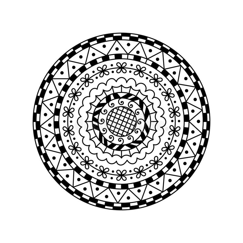 Mandala redonda do vetor Ornamento decorativo étnico Página da coloração ilustração stock