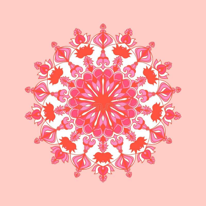 Mandala redonda en colores rosados Modelo floral Plantilla de la yoga Elemento para las tarjetas, cartel, bandera, web libre illustration