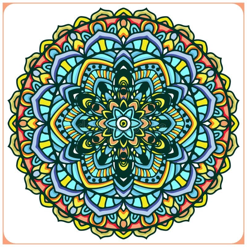 Mandala rocznik ornamentacyjny z kółkowymi kwiecistymi motywami Mandala obramia tło element ilustracja wektor