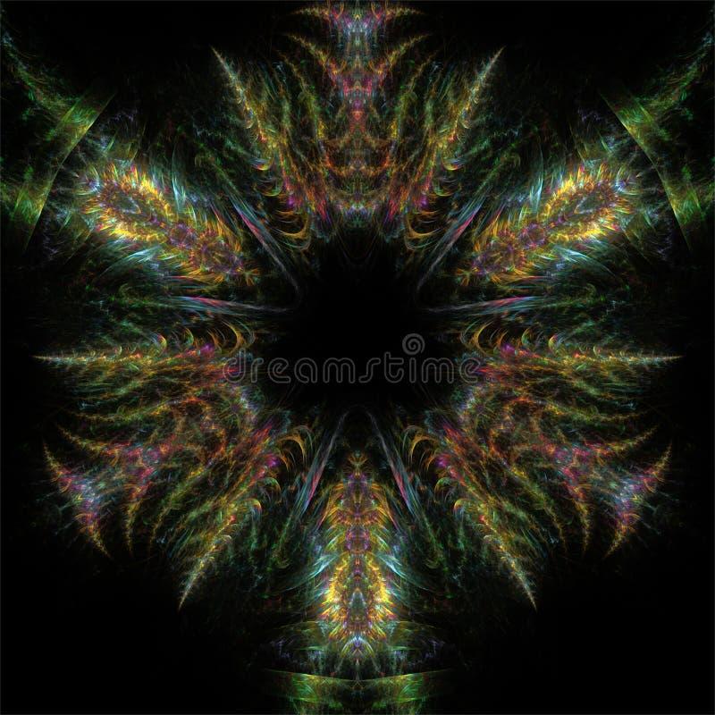 Mandala romântica do círculo da fantasia abstrata da estrutura da cor da arte do fractal ilustração stock