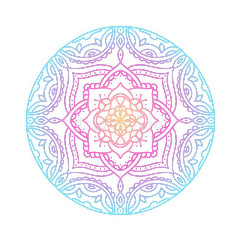 Mandala rond de gradient sur le fond d'isolement par blanc Mandala de boho de vecteur dans des couleurs bleues, jaunes et roses d illustration de vecteur