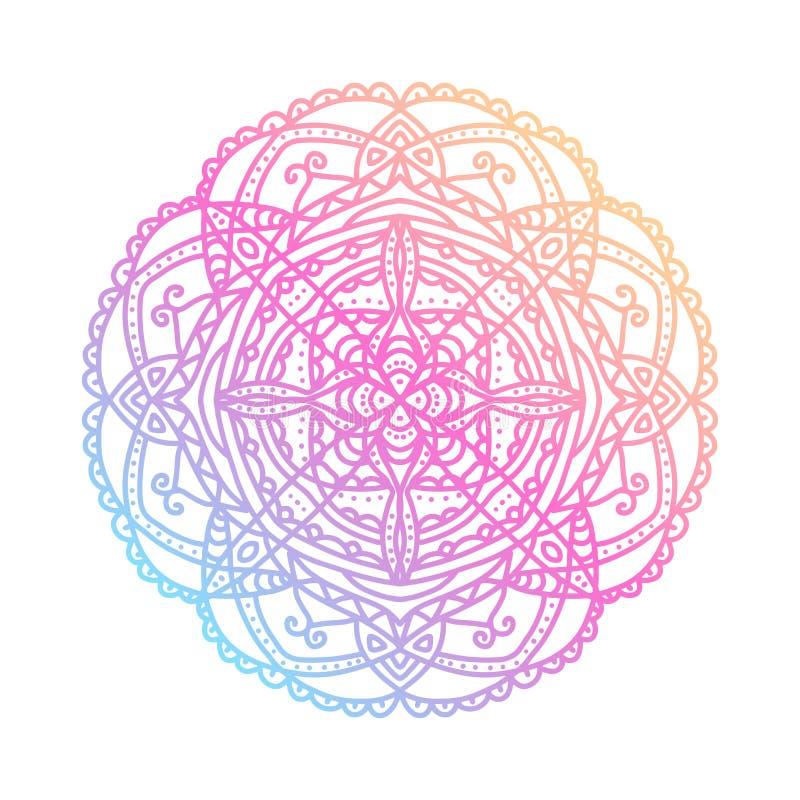 Mandala rond de gradient sur le fond d'isolement par blanc Mandala de boho de vecteur dans des couleurs bleues, jaunes et roses M illustration libre de droits