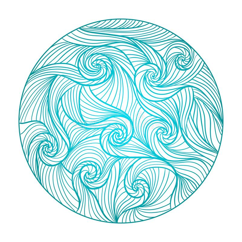Mandala rond de vague de mer illustration stock