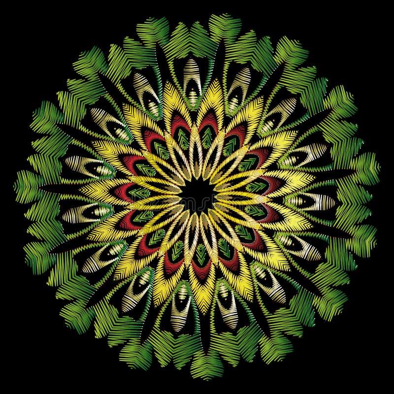 Mandala rond floral de vecteur de broderie Ornement ethnique de zigzag de style de tapisserie Mod?le de fleur brod? Cru grunge illustration libre de droits