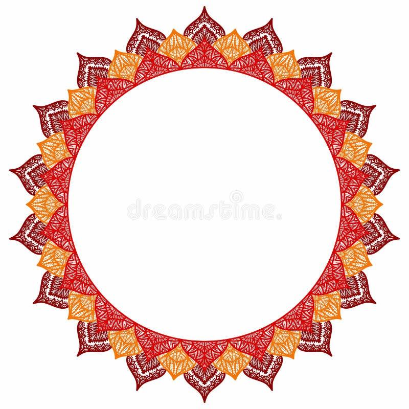 Mandala - rond kader voor uw tekst Lege ruimte, witte backgrou vector illustratie