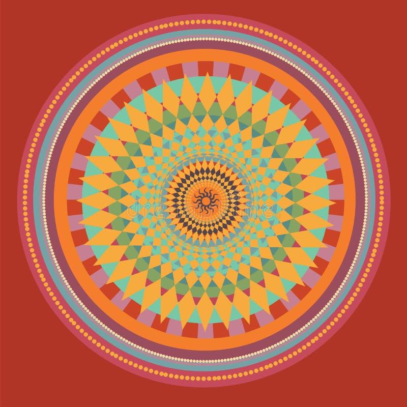 Mandala rossa del girasole. illustrazione illustrazione vettoriale