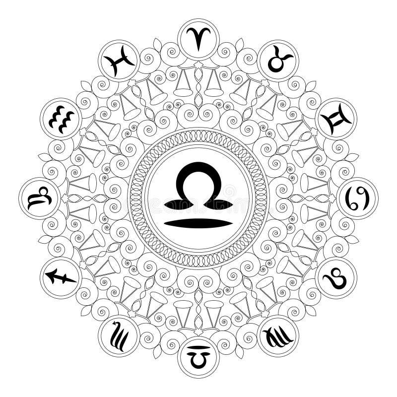 Mandala rotonda in bianco e nero con il simbolo dello zodiaco del libra - libro da colorare adulto royalty illustrazione gratis