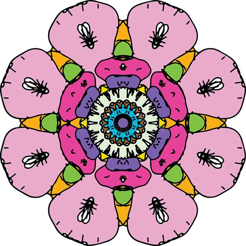 Mandala rotonda di coloritura incantevole del cuore royalty illustrazione gratis