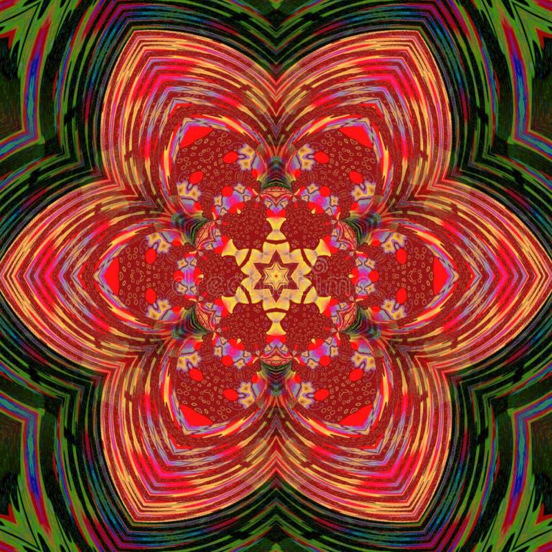 Mandala rouge de tuile de triangle d'ornement de vintage illustration de vecteur