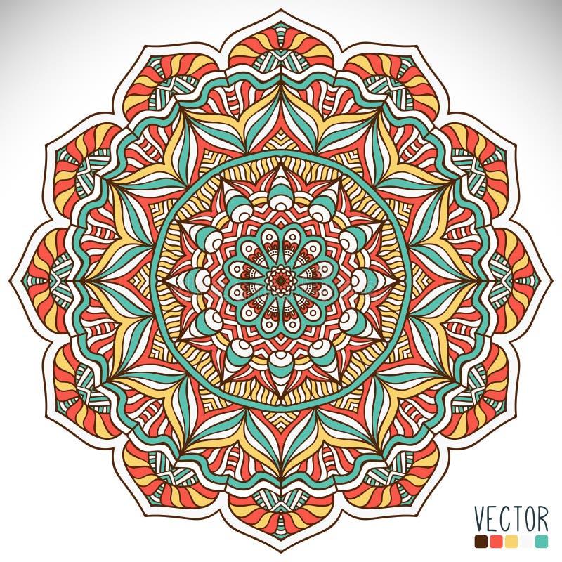 Mandala. Round Ornament Pattern. Vintage decorative elements. Hand drawn background stock illustration