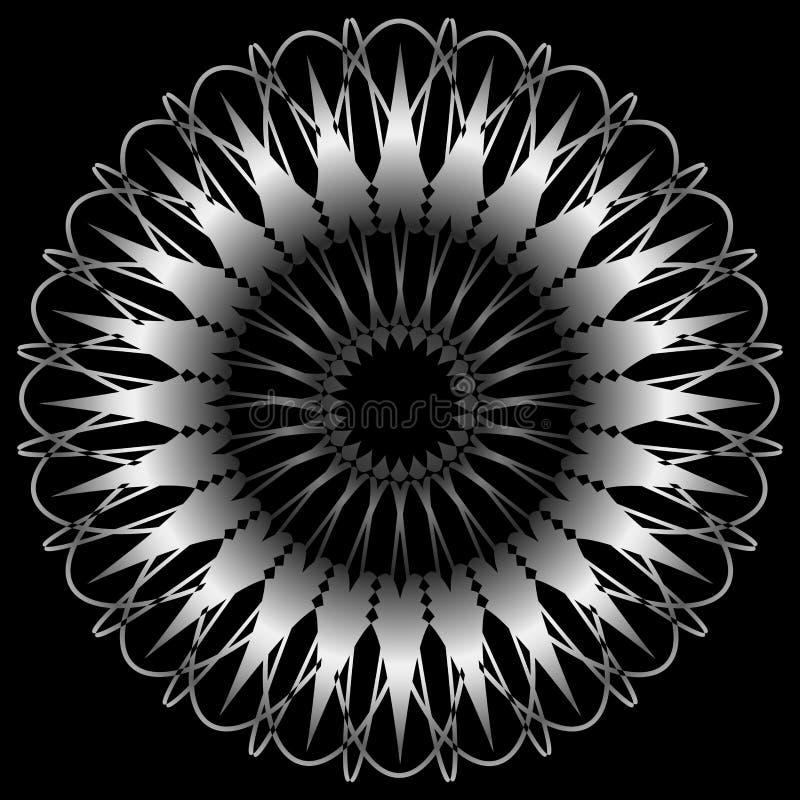 Mandala Round Ornament sur le noir illustration libre de droits
