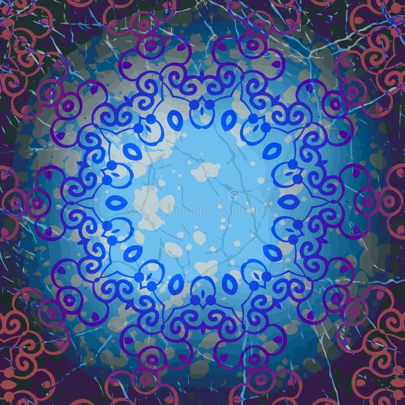 Mandala round rama w błękitnym kolorze grunge abstrakcyjne ilustracji