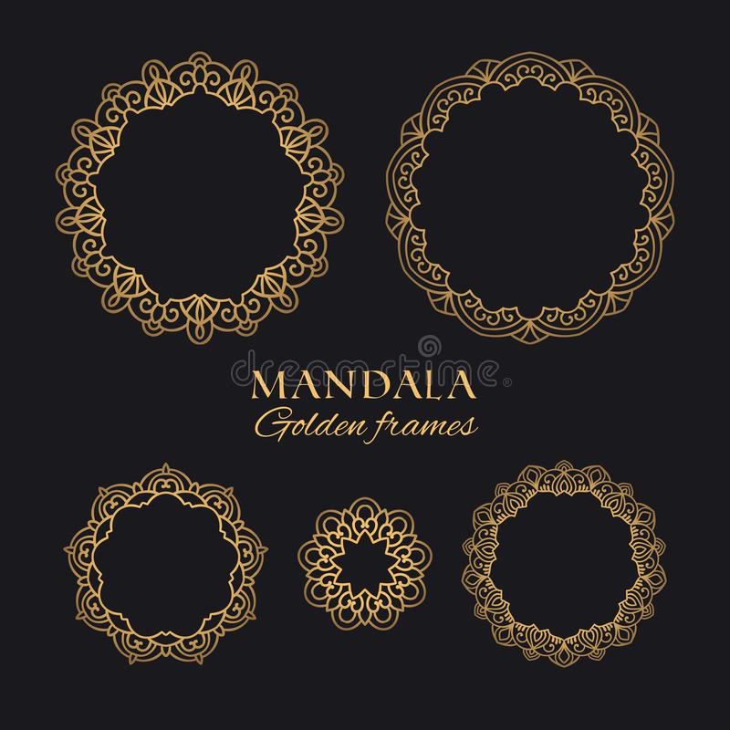 Mandala round wektorowe geometryczne ramy ustawiać Collectiond orientalni luksusowi ornamenty royalty ilustracja