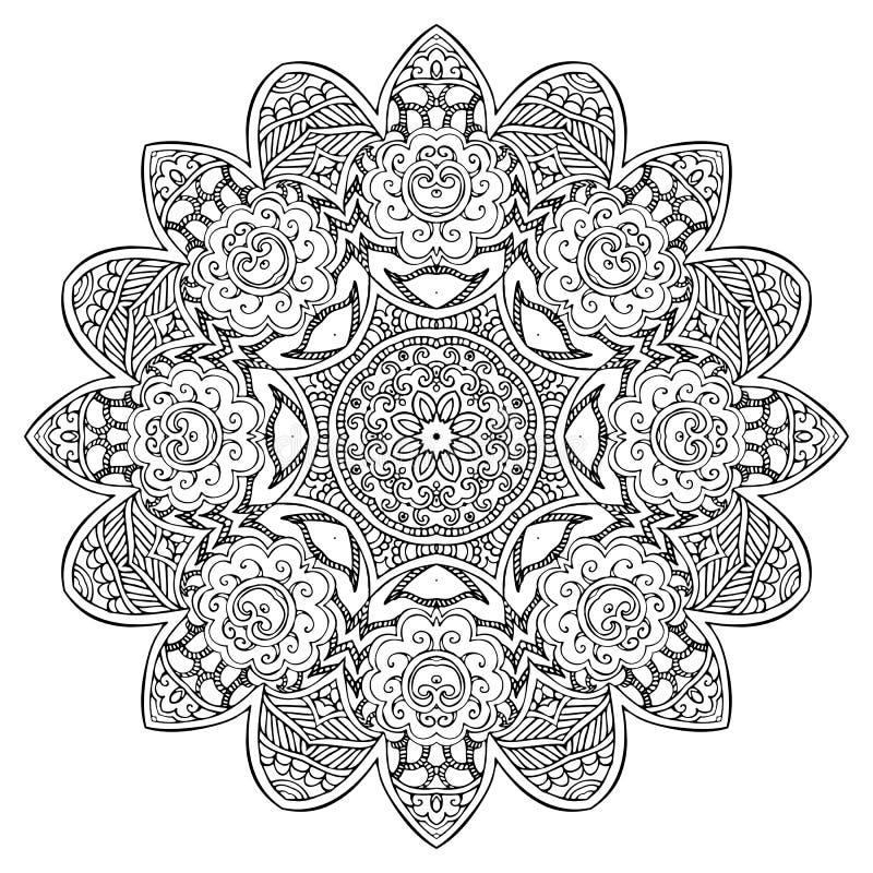 Mandala Round Zentangle Ornament Pattern-Vector royalty-vrije illustratie