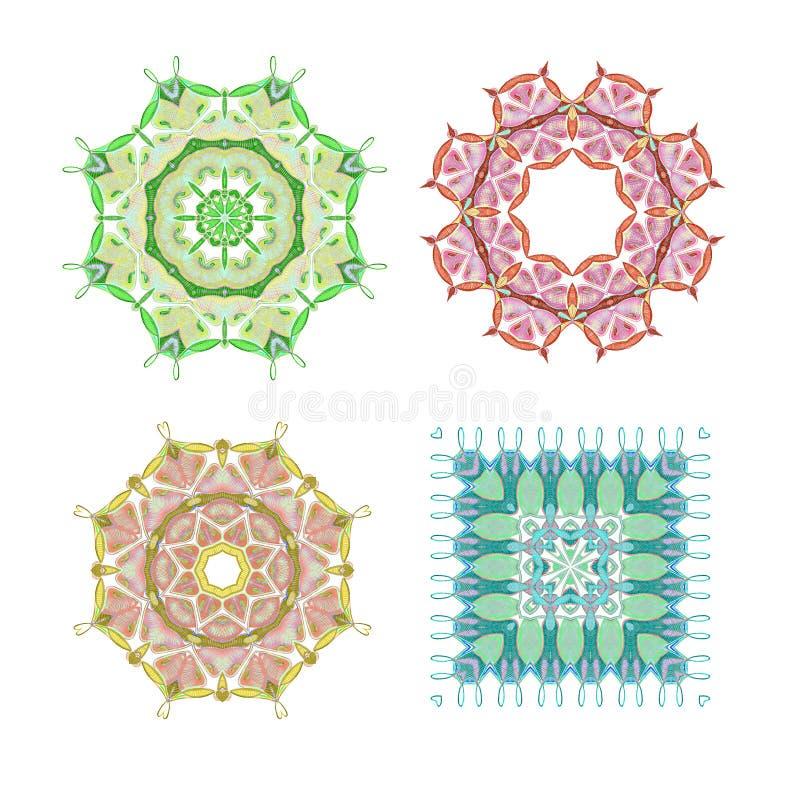 mandala Rund prydnadmodell royaltyfri illustrationer