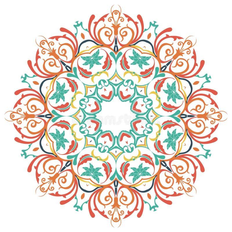 mandala Runda färgad prydnadmodell royaltyfri illustrationer