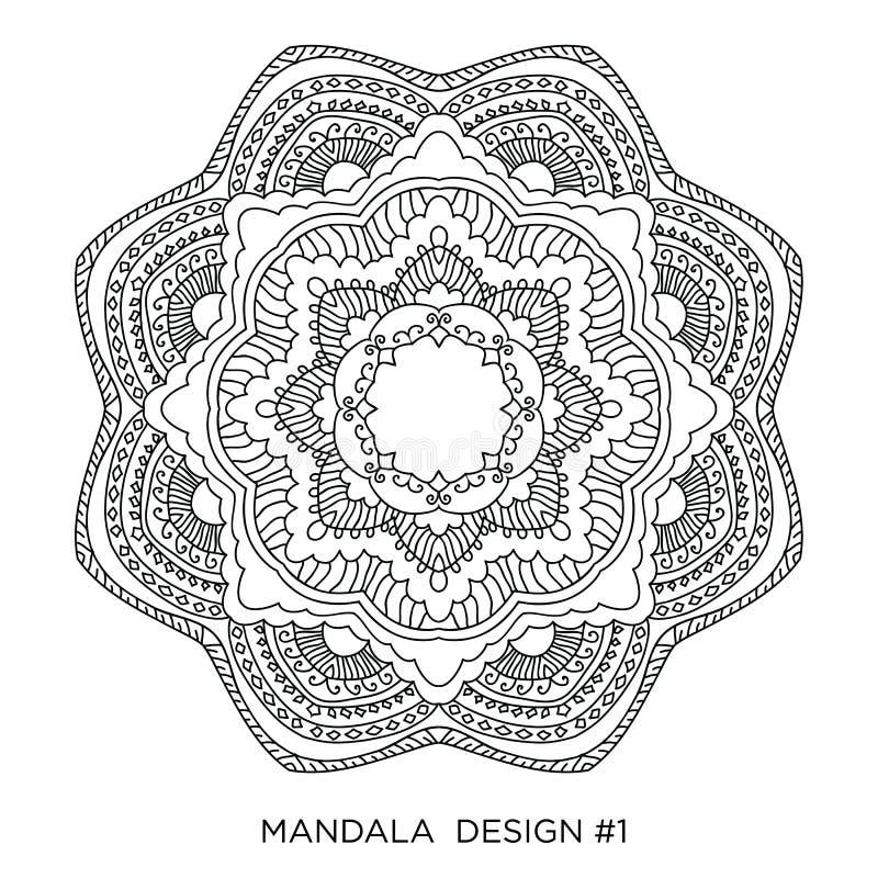 mandala Runde Blumenverzierung lokalisiert auf weißem Hintergrund Dekoratives Auslegungelement Schwarzweiss-Entwurf illustratio stock abbildung