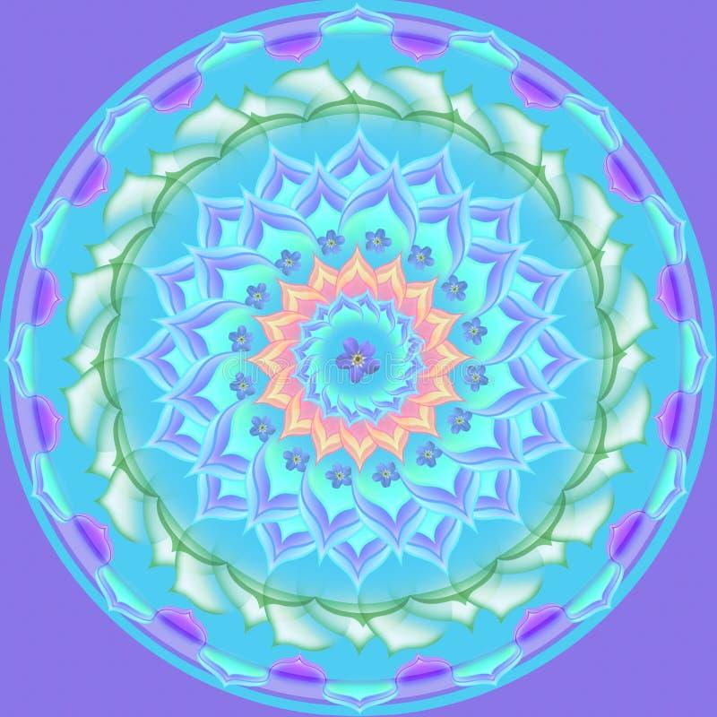 Mandala-rundes Verzierung-Muster-Blumenzeichnung stock abbildung