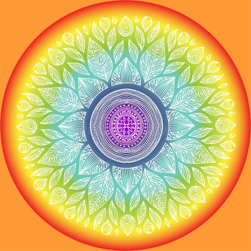 Mandala, símbolo geométrico do universo, ioga do sinal do chakra ilustração stock