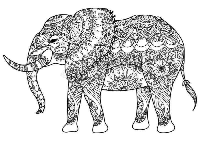 Mandala słoń royalty ilustracja
